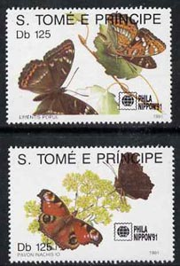 St Thomas & Prince Islands 1991 Phila Nippon '91 Stamp Exhibition (Butterflies) perf set of 2 values unmounted mint