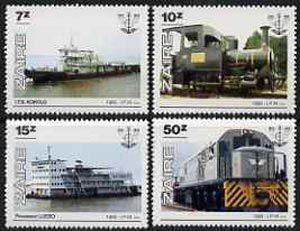 Zaire 1985 National Transport Office (Ships & Trains) perf set of 4 unmounted mint, SG 1258-61