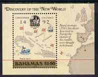 Bahamas 1988 500th Anniversary of Discovery of America by Columbus (1st issue) perf m/sheet (Map) unmounted mint, SG MS 823