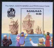 Bahamas 1990 500th Anniversary of Discovery of America by Columbus (3rd issue) perf m/sheet (Departure) unmounted mint, SG MS 874