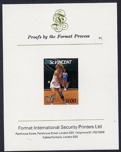St Vincent 1987 International Tennis Players $1 Chris Evert imperf proof mounted on Format International proof card (as SG 1060), stamps on personalities, stamps on tennis, stamps on sport