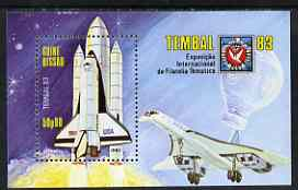 Guinea - Bissau 1983 Tembal '83 Stamp Exhibition perf m/sheet (Shuttle, Concorde, Balloon & Basle Dove) unmounted mint