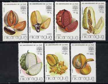 Nicaragua 1986 40th Anniversary of FAO (fruits) perf set of 7 unmounted mint, SG 2774-80