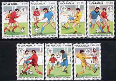 Nicaragua 1990 Football World Cup Championships perf set of 7 unmounted mint