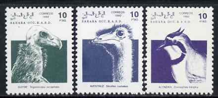 Sahara Republic 1992 Birds, the 3 values from def set unmounted mint