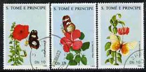St Thomas & Prince Islands 1988 Butterflies & Flowers perf set of 3 very fine cto used