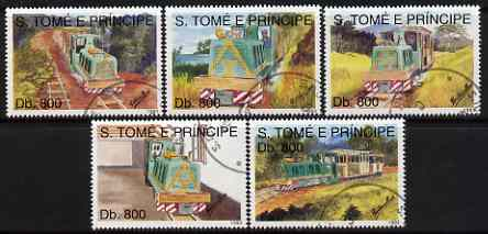 St Thomas & Prince Islands 1993 Railways perf set of 5 very fine cto used