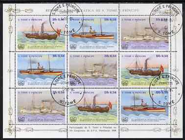 St Thomas & Prince Islands 1984 UPU Congress (Paddle Steamers) perf sheetlet of 9 (3 sets of 3) fine cto used