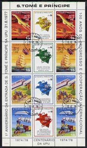 St Thomas & Prince Islands 1978 Centenary of UPU perf sheetlet containing 12 values (set of 8 plus extra 4 values) fine cto used (Concorde,Balloon, Airship,Train,Stage coach, Ship & Satellite)