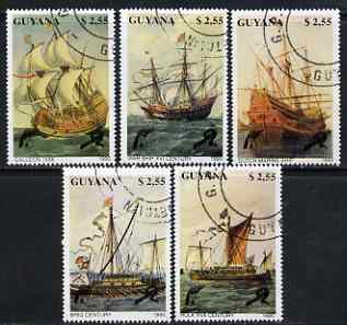 Guyana 1990 Early Sailing Ships perf set of 5 very fine cto used