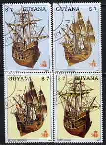Guyana 1987 Early Ships (Santa Maria & Grande Francoise) perf set of 4 very fine cto used