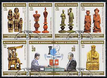 St Thomas & Prince Islands 1981 Chess perf set of 8, fine cto used, Mi 703-10
