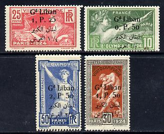 Lebanon 1924 Olympic Games set of 4 optd 'Gd Liban' & surcharged, fine mounted mint SG 49-52