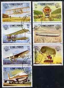 St Thomas & Prince Islands 1983 Bicentenary of Manned Flight set of 7, cto used Mi 830-36