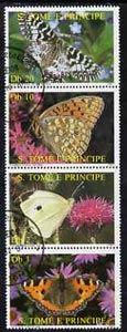 St Thomas & Prince Islands 1987 Butterflies perf set of 4, fine cto used