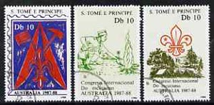 St Thomas & Prince Islands 1988 Scouts Congress perf set of 3, fine cto used