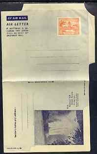 Aerogramme - British Guiana 1945/50 12c orange (Market) Air letter sheet illustrated with Kaieteur Falls, folded  but unused