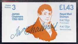 Booklet - Great Britain 1981-85 Postal History series #03 (James Chalmers) \A31.43 booklet complete with selvedge at left SG FN1A