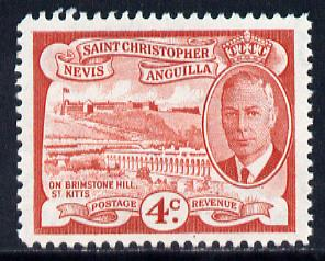 St Kitts-Nevis 1952 KG6 Brimstone Hill 4c from Pictorial def set unmounted mint SG 97