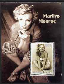 Benin 2002 Marilyn Monroe #1 perf s/sheet containing single value unmounted mint, stamps on personalities, stamps on music, stamps on entertainments, stamps on women, stamps on films, stamps on marilyn monroe, stamps on cinema