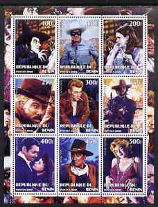 Benin 2002 Classic Movie Stars perf sheet containing set of 9 values unmounted mint