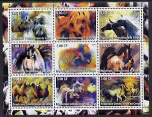 Congo 2002 Paintings of Horses perf sheet containing set of 9 values unmounted mint