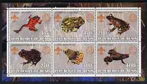 Benin 2002 Frogs perf sheetlet containing set of 6 values, each with Scouts & Guides Logos unmounted mint