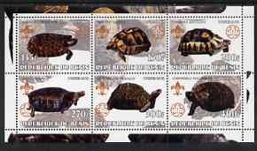 Benin 2002 Turtles perf sheetlet containing set of 6 values, each with Scouts & Guides Logos unmounted mint