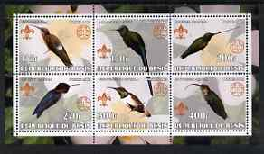 Benin 2002 Humming Birds perf sheetlet containing set of 6 values, each with Scouts & Guides Logos unmounted mint