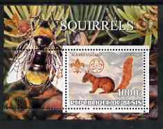 Benin 2002 Squirrels perf s/sheet containing single value with Scouts & Guides Logos plus Rotary Logo and Bee in outer margin, unmounted mint
