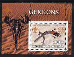 Benin 2002 Lizards & Gekkos perf s/sheet containing single value with Scouts & Guides Logos plus Rotary Logo and Insect (Scorpion) in outer margin, unmounted mint