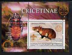 Benin 2002 Rats perf s/sheet containing single value with Scouts & Guides Logos plus Rotary Logo and Insect in outer margin, unmounted mint