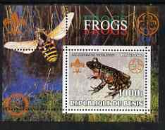 Benin 2002 Frogs perf s/sheet containing single value with Scouts & Guides Logos plus Rotary Logo and Bee in outer margin, unmounted mint