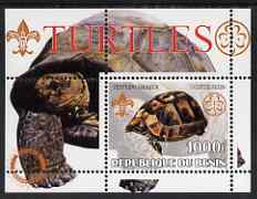 Benin 2002 Turtles perf s/sheet containing single value with Scouts & Guides Logos plus Rotary Logo in outer margin, unmounted mint