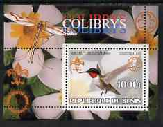 Benin 2002 Humming Birds perf s/sheet containing single value with Scouts & Guides Logos plus Rotary Logo & Insect in outer margin, unmounted mint