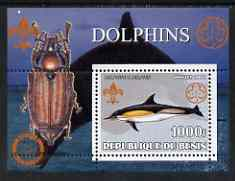 Benin 2002 Whales & Dolphins perf s/sheet containing single value with Scouts & Guides Logos plus Rotary Logo & Insect (Beetle) in outer margin, unmounted mint