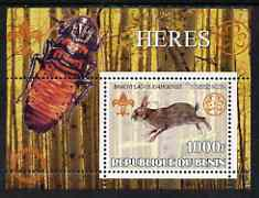 Benin 2002 Rabbits & Hares perf s/sheet containing single value with Scouts & Guides Logos plus Rotary Logo & Insect (Beetle) in outer margin, unmounted mint