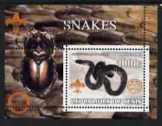 Benin 2002 Snakes perf s/sheet containing single value with Scouts & Guides Logos plus Rotary Logo & Insect (Beetle) in outer margin, unmounted mint