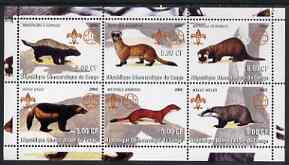 Congo 2002 Martens etc perf sheetlet containing set of 6 values, each with Scouts & Guides Logos unmounted mint
