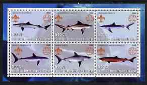 Congo 2002 Sharks perf sheetlet containing set of 6 values, each with Scouts & Guides Logos unmounted mint