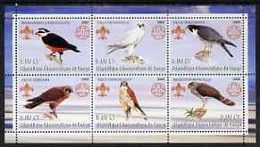 Congo 2002 Falcons perf sheetlet containing set of 6 values, each with Scouts & Guides Logos unmounted mint