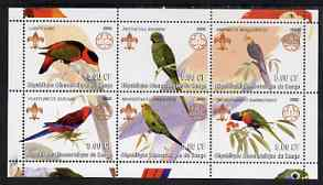 Congo 2002 Parrots perf sheetlet containing set of 6 values, each with Scouts & Guides Logos unmounted mint, stamps on scouts, stamps on guides, stamps on birds, stamps on parrots
