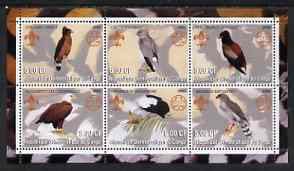 Congo 2002 Hawks & Eagles perf sheetlet containing set of 6 values, each with Scouts & Guides Logos unmounted mint
