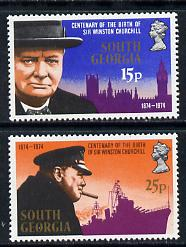 Falkland Islands Dependencies - South Georgia 1974 Churchill Birth Centenary set of 2 unmounted mint, SG 40-41