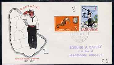 Barbados 1969 Harbour Police 1c on 4c on illustrated cover (with additional 3c) with first day cancel