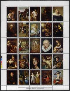 Cinderella - Great Britain National Gallery Old Masters perf sheetlet of 25 produced by Harrison & Sons Ltd, undenominated but with imprint unmounted mint