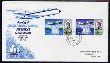 Cayman Islands 1966 Opening of Jet Services set of 2 on illustrated cover with first day cancel