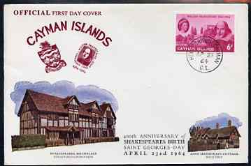 Cayman Islands 1964 400th Birth Anniversary of Shakespeare on illustrated cover with first day cancel, SG 183