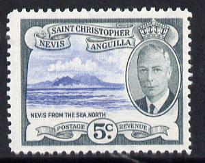 St Kitts-Nevis 1952 KG6 Nevis from the Sea 5c from Pictorial def set unmounted mint SG 98