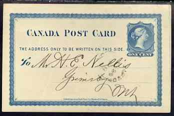 Canada 1877 1c p/stat card used to Ontario with statement of account from the Toronto News